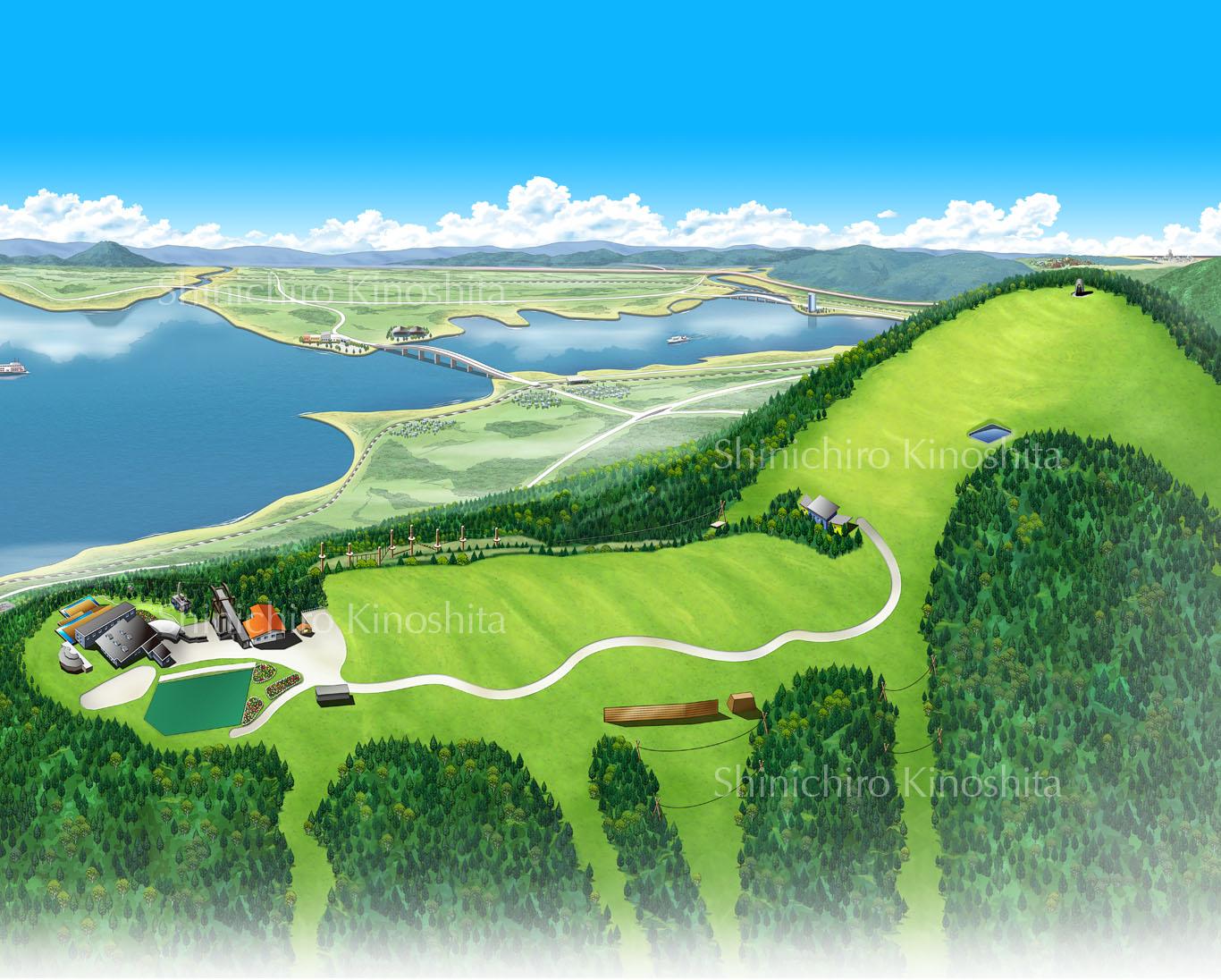 琵琶湖ヴァレイ夏の鳥瞰図