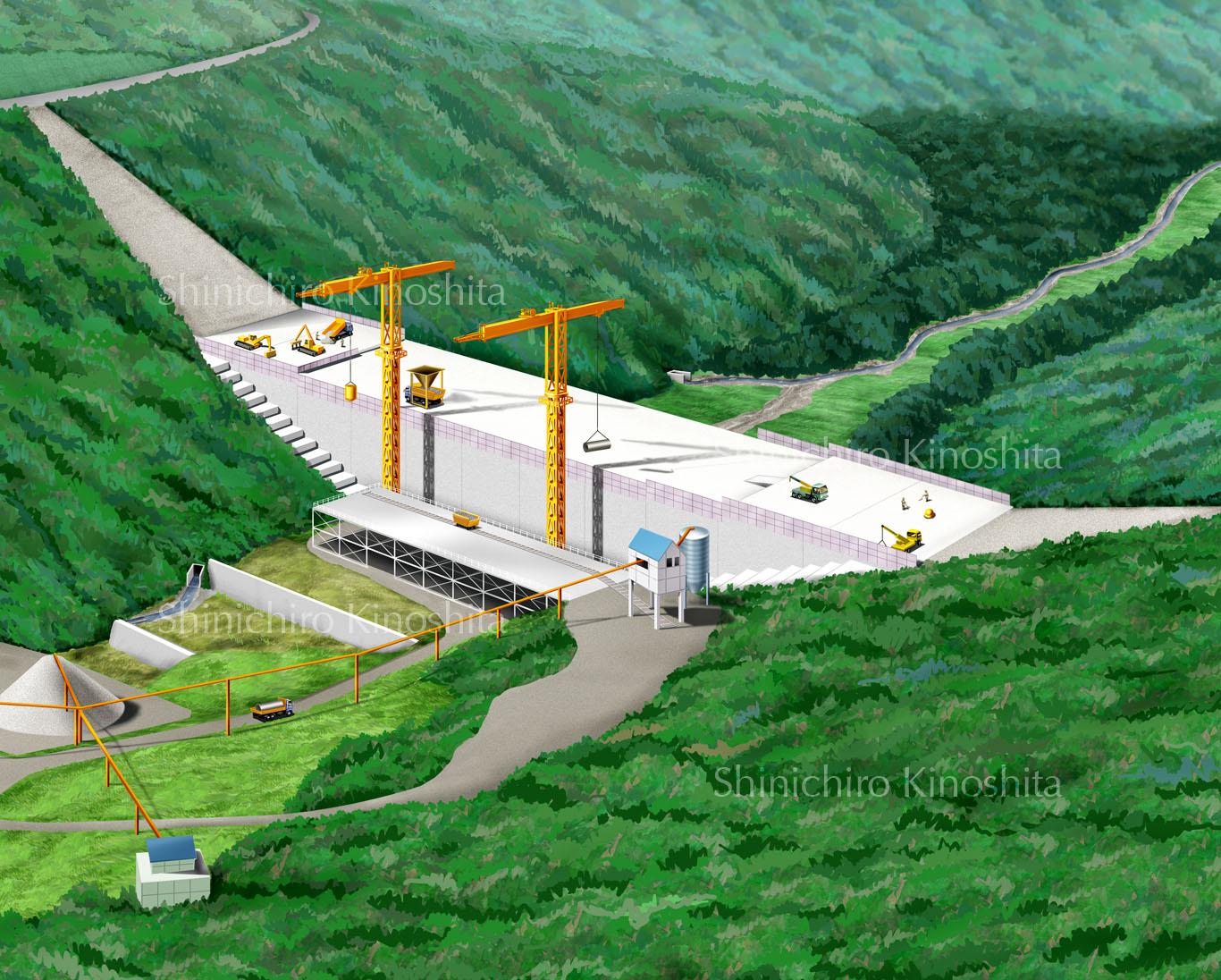 ダム建設工事イメージパース